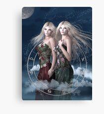 Gemini zodiac fantasy circle Canvas Print