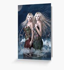 Gemini zodiac fantasy circle Greeting Card
