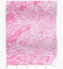 Mexiko Karte Rosa Poster