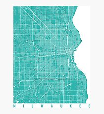 Milwaukee map turquoise Photographic Print