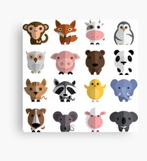 Flat animals Canvas Print