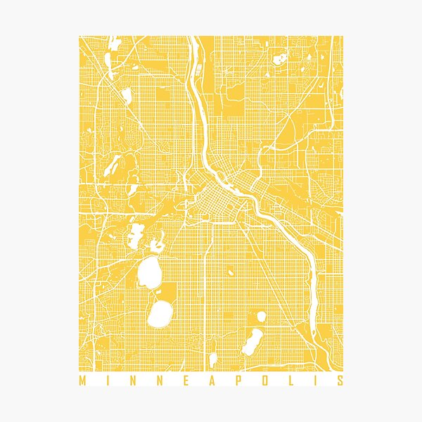 Minneapolis map yellow Photographic Print