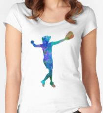 woman playing softball 02 Women's Fitted Scoop T-Shirt