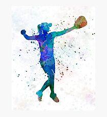 Frau spielt Softball 02 Fotodruck