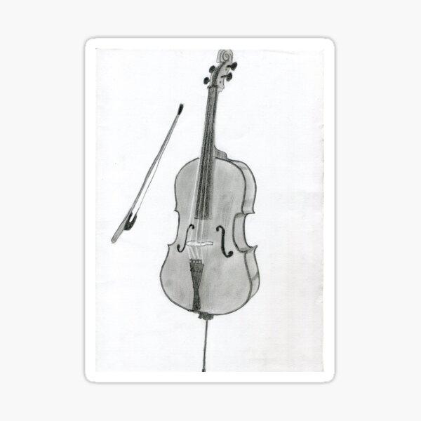Realistic Violin Drawing Art -- Violin Graphite Pencil Sticker