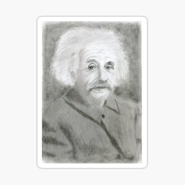 Realistic Albert Einstein Drawing Art -- Einstein Graphite Pencil Sticker
