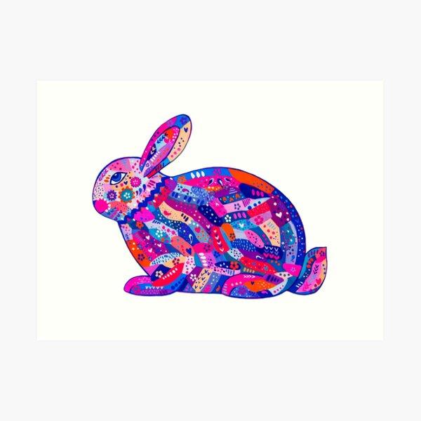 rabbit bunny hare cute baby mosaic acrylic cartoon  Art Print