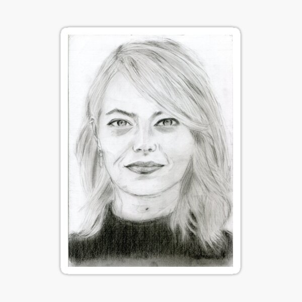 Realistic Emma Stone Drawing Art -- Emma Stone Graphite Pencil Sticker