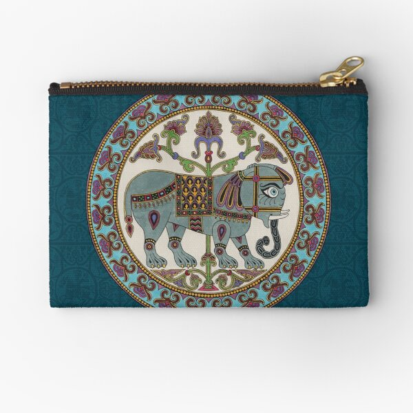 Byzantine elephant Medieval illumination Zipper Pouch