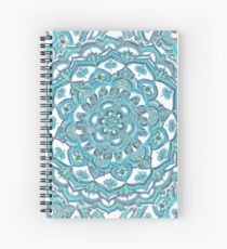 Summer Bloom - floral doodle pattern in turquoise & white Spiral Notebook