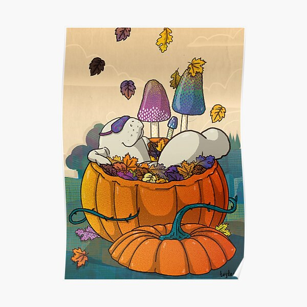 Autumn manatee - manatee with sleep mask bathing in pumpkin full of leaves, surrounded by mushrooms  Poster