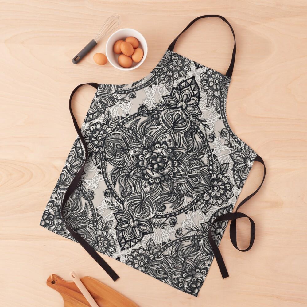 Charcoal Lace Pencil Doodle Apron