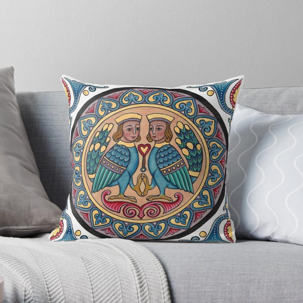 Medieval Armenian Harpies Throw Pillow