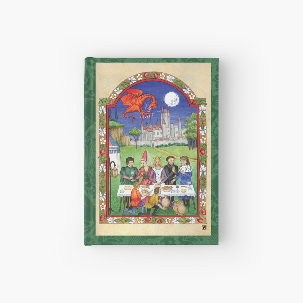 Medieval feast with dragon Hardcover Journal