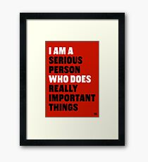 I am a Serious Person Who Does Really Important Things Framed Print