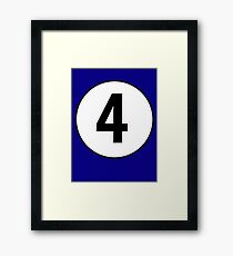 4, Fourth, Number Four, Number 4, Old School, Racing, Four, Competition, on Navy Blue Framed Print