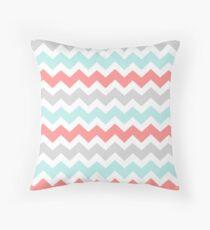Coral Aqua Grey Chevron Pattern Throw Pillow