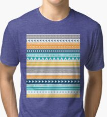 Orange Yellow Blue Tribal Pattern Tri-blend T-Shirt