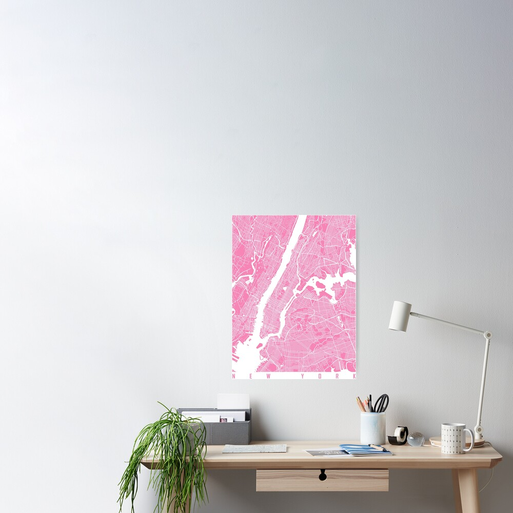 New York map pink Poster