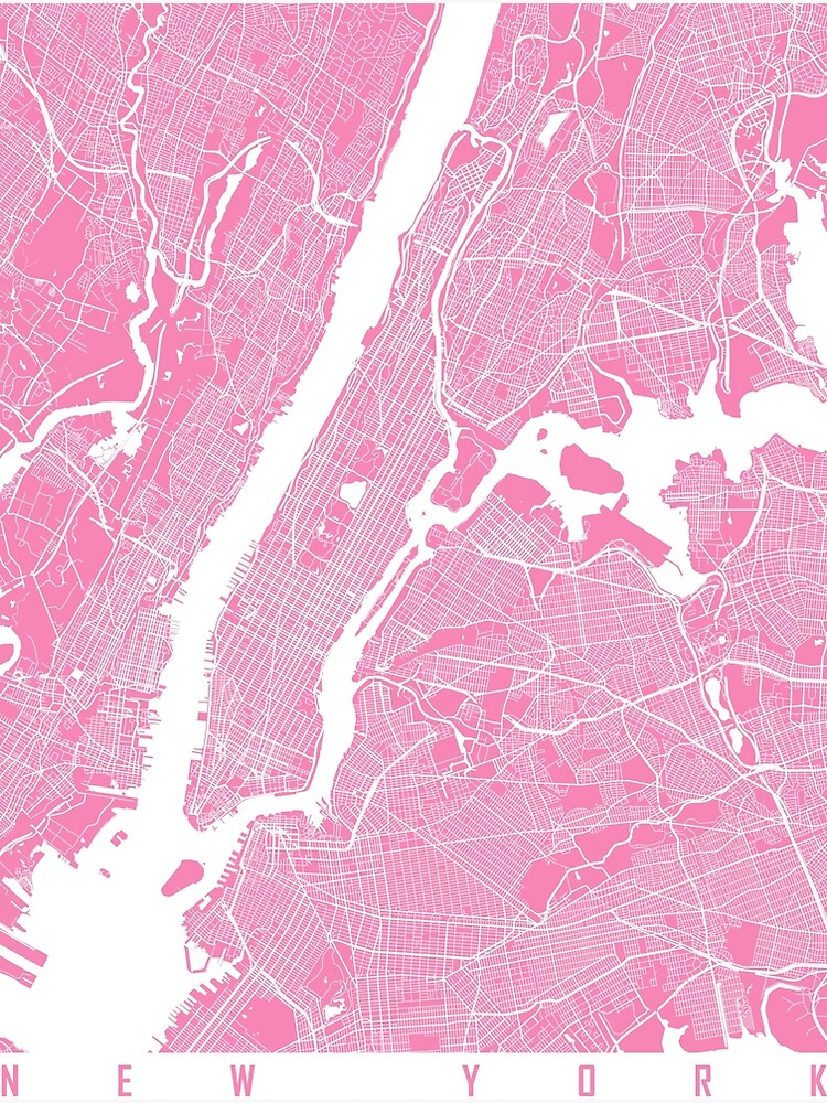 New York map pink by mapsart