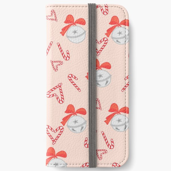 Christmas candy canes and bells seamless pattern on pink background. iPhone Wallet