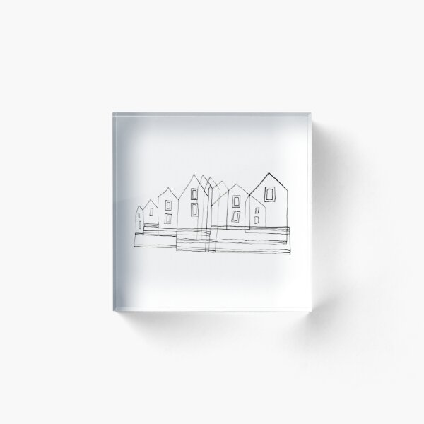 Group Houses Drawing - Black and White Acrylic Block
