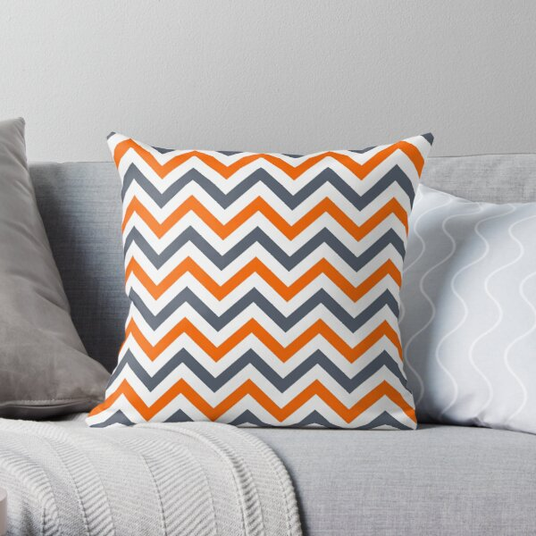 Chevron orange gray cute pattern Throw Pillow