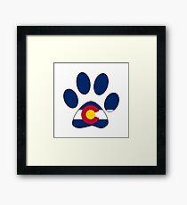 Colorado flag paw print Framed Print