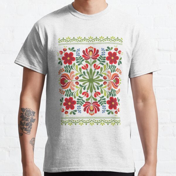 Hungarian Folk Design Red and Pink Classic T-Shirt
