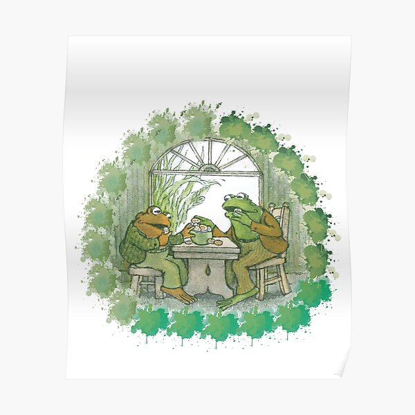 Frog and toad on table Poster