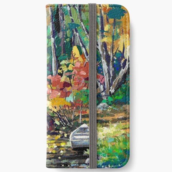Quiet Rowboat, Fall in New England iPhone Wallet