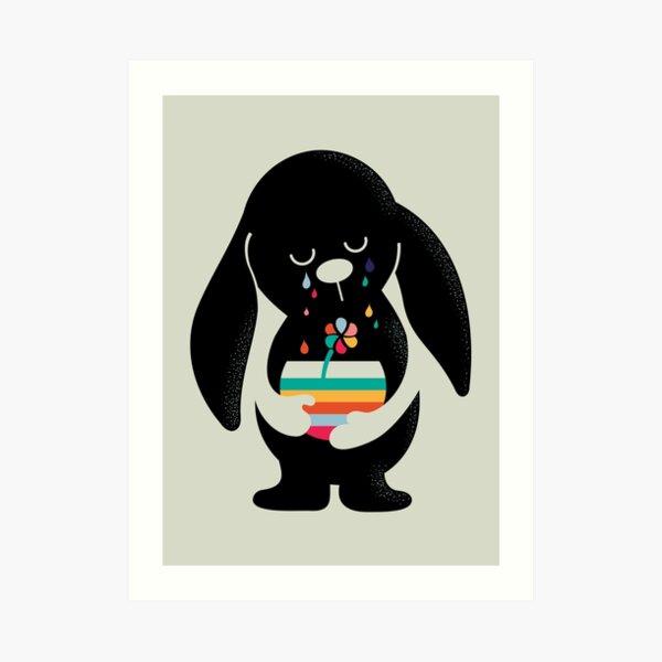 Rainbow Tears Bunny Art Print