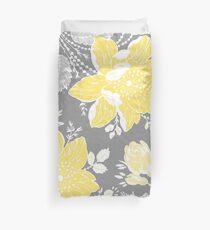 Gelb-graues Blumen-Muster Bettbezug