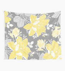 Yellow Grey Flowers Pattern Wall Tapestry