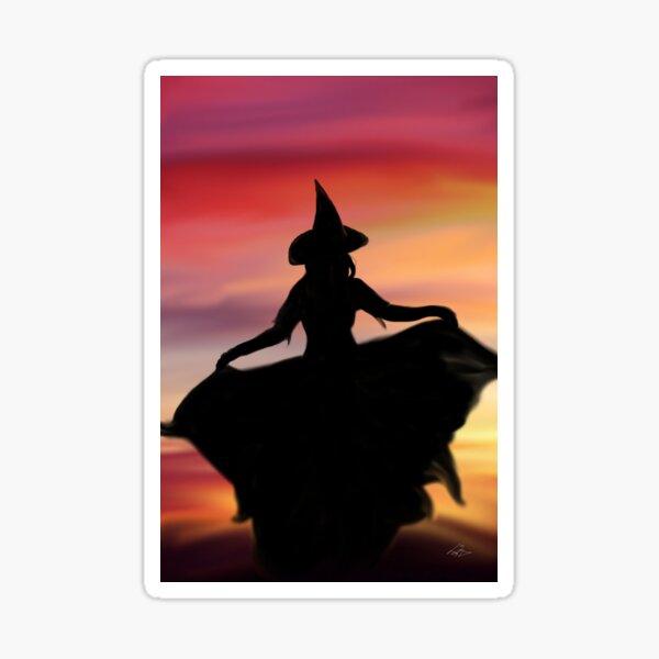 Hexe bei Sonnenuntergang Sticker