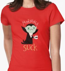 Mornings Suck Fitted T-Shirt