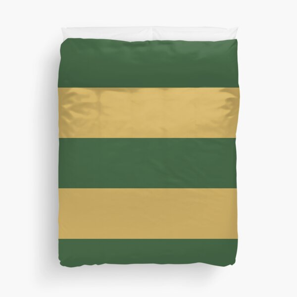 Large PINE GREEN and GOLD Horizontal STRIPES Duvet Cover