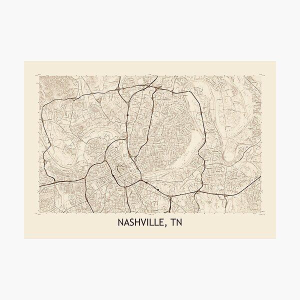 Vintage Nashville Map Wall Art Redbubble
