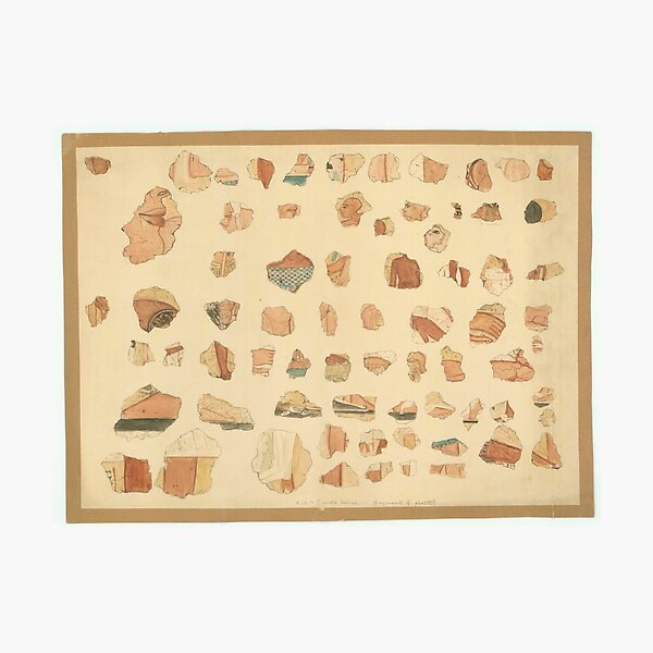Painted plaster fragments from Amarna, 1930s Photographic Print