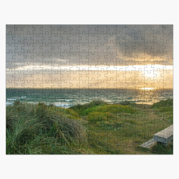 Sunset over Poldark Bench Jigsaw Puzzle