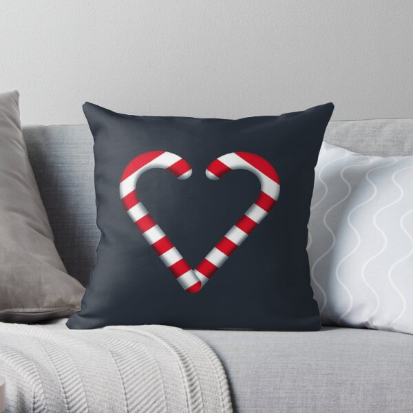 I Love Candy Cane Throw Pillow