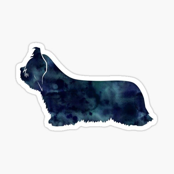 Skye Terrier Dog Black Watercolor Silhouette Sticker