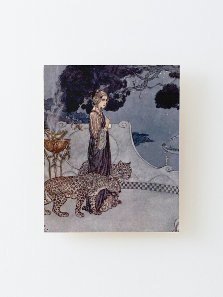 """Alternate view of """"Circe With Leopards"""" by Edmund Dulac Mounted Print"""