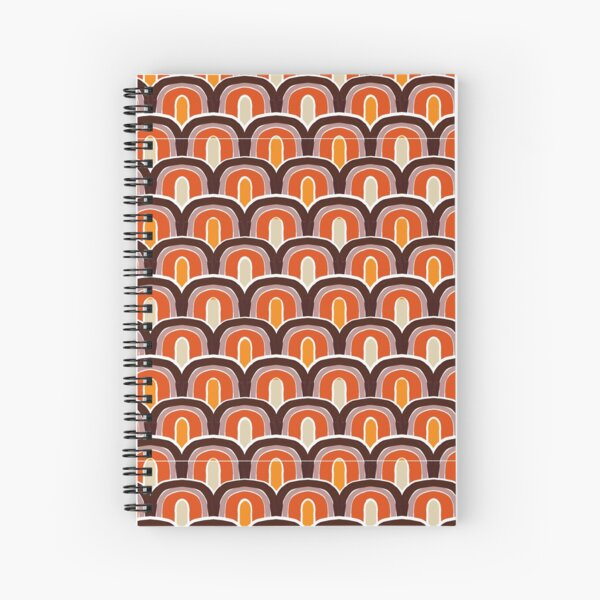 70s Vintage Rainbow Pattern, geomatric line pattern, collection Yellow Me Spiral Notebook