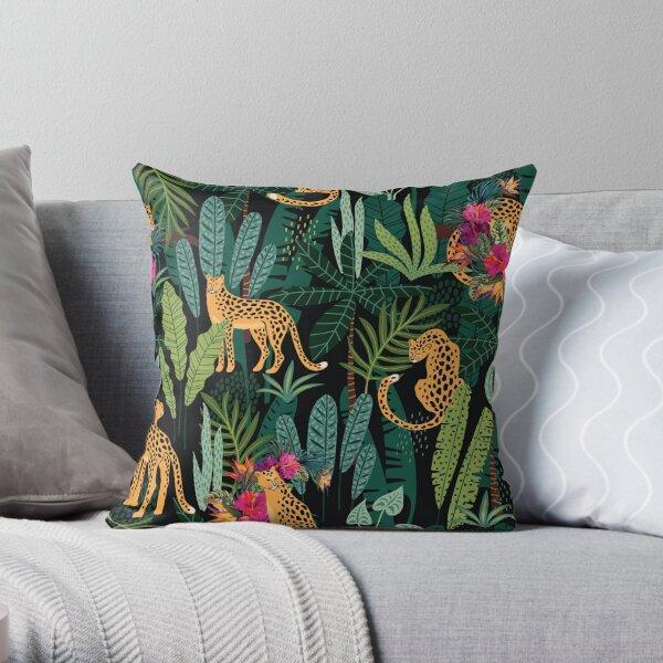 Tropical Cheetah Print Throw Pillow