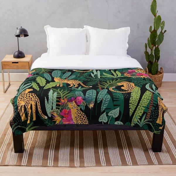 Tropical Cheetah Print Throw Blanket