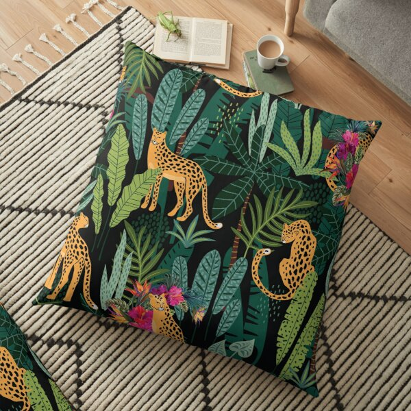 Tropical Cheetah Print Floor Pillow