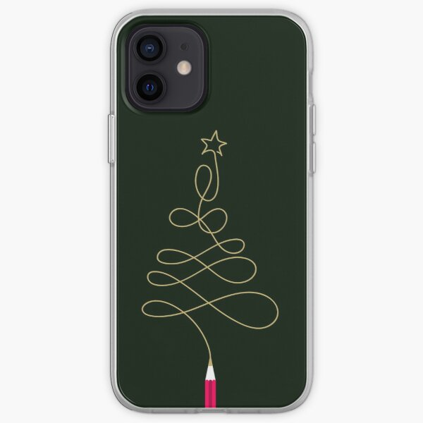 Golden Christmas Tree Pencil iPhone Soft Case