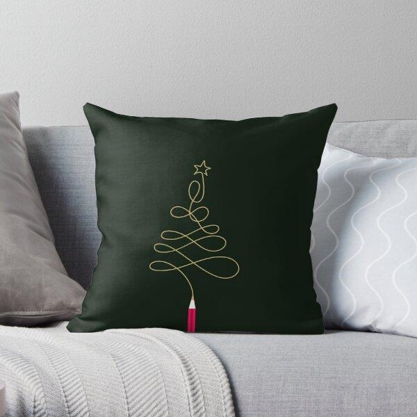 Golden Christmas Tree Pencil Throw Pillow
