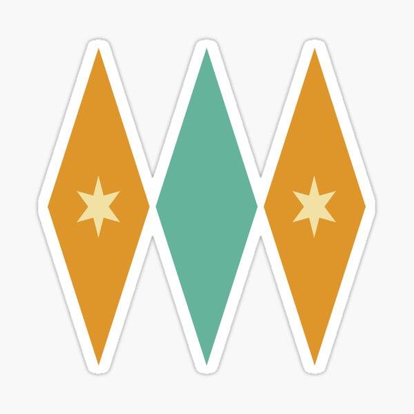 Turquoise Orange and Cream Stars In Diamonds Sticker